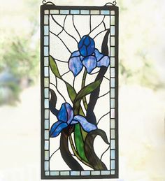 Iris Stained Glass Window Panel
