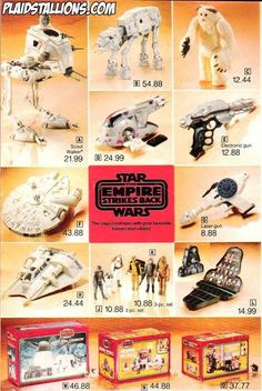 Star Wars: The Empire Strikes Back action figures and play sets by Kenner Toys Star Wars Toys, Star Wars Art, Retro Toys, Vintage Toys, Gi Joe, Old School Toys, Star Wars Merchandise, Star Wars Action Figures, Vintage Advertisements