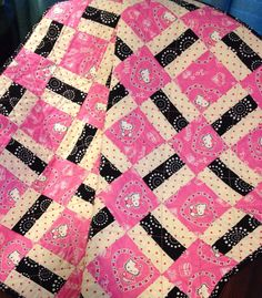 Pink Black White and Hello Kitty Together by WrappingYouInWarmth, $80.00