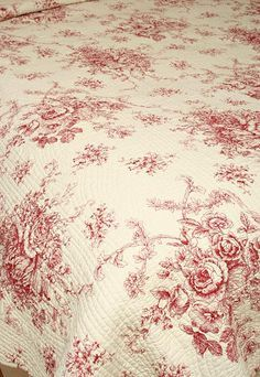 Toile bedding | Ballard French Country Style Red Toile Quilt …