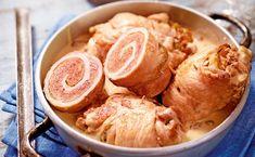 Schweinsroulade mit Kapernsauce und Erdäpfelrösti