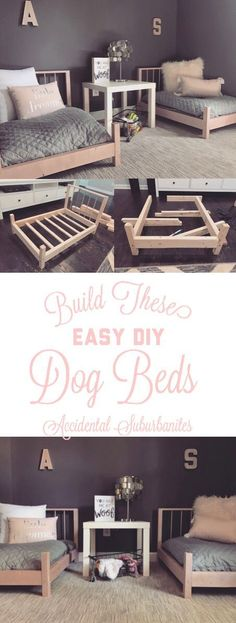 Dog bed DIY ideas for large dogs pallet DIY furniture ideas building plans dog bedroom pink and grey doll bed DIY