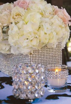 Elegant and Sparkly Wedding Centerpiece, Bling, Pink and white flowers. www.Signature-Event.com