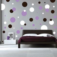 Polka Dots Wall Decals | Wall Stickers | Trendy Wall Designs- orange/brown/white for the play room