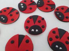 12 Ladybug Fondant edible sugar cupcake by sugarcreations01