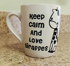 Who loves Giraffes?  Ceramic Coffee Tea CoCo Vinyl Mug Custom Personalized by APCustoms