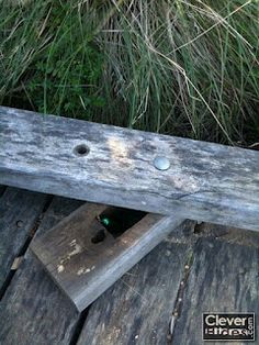 CleverHides.com: Flip-out Boardwalk Rail Geocache