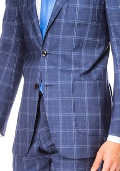 Blue with maroon and cream plaid suit.