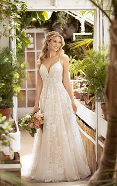 Wedding Dresses Vintage Aline 7065 Lace and Tulle Floral Wedding Dress with Train by Stella York.Wedding Dresses Vintage Aline 7065 Lace and Tulle Floral Wedding Dress with Train by Stella York Wedding Dress Tea Length, Lace Beach Wedding Dress, Floral Wedding, Floral Lace, Beach Wedding Bridesmaid Dresses, Modest Wedding, Gown Wedding, Summer Wedding, Wedding Cakes