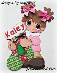 ELITE4 XMAS STOCKING GIRL paper piece premade scrapbook page album die WOLFFEY5