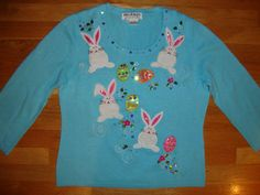 Womens Jack B Quick Light Blue Easter Bunny Sweater Size Medium Worn 1 Time | eBay $39.99