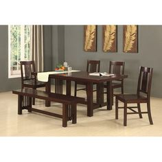@Overstock - This dining set is the perfect addition to any dining room. The cappuccino finish and clean lines create a polished look, while the sound construction will last for years to come. Set is designed to seat 6 but will easily accommodate larger gatherings.http://www.overstock.com/Home-Garden/6-Piece-Cappuccino-Solid-Wood-Dining-Set/6514000/product.html?CID=214117 $1,030.99