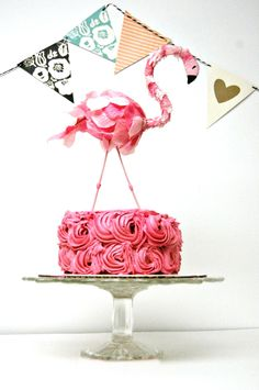 flamingo cake topper diy - fun party decor craft. #pink
