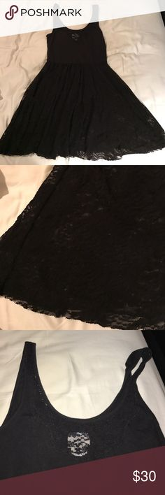 Intimately Free People black dress Black Free People black lace dress. The bottom does not have lining and is see through. The top has the same sheer lace detail around the neckline but is otherwise opaque. Size medium. Free People Dresses