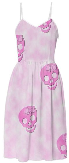 Pink Skulls Pastel Goth Print Sundress from Print All Over Me...I would wear this with combat boots and spikes...