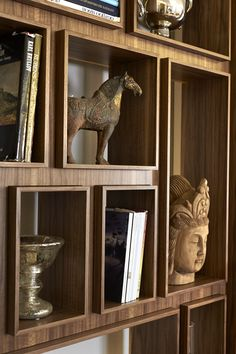Built-in Bookcase to Display Treasures - Craftmanship shows in detailed edging of the cabinetry/millwork. Bookcase Shelves, Display Shelves, Shelving, Bookcases, Modern Bookcase, Display Boxes, Display Case, Shelf Design, Cabinet Design