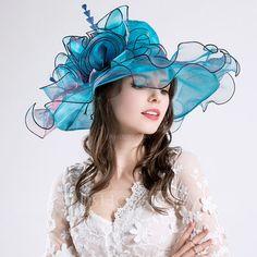 [AU$42.00] Ladies' Glamourous Cotton/Net Yarn With Silk Flower Floppy Hat