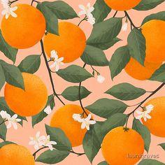 fresh citrus by lauragraves | Redbubble Fruit Painting, Ceramic Painting, Mini Paintings, Watercolor Paintings, Pattern Art, Print Patterns, Design Patterns, Orange Wallpaper, Doodle Art