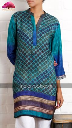 Block printed Tussar silk tunic by Weavers Studio on Indianroots.com