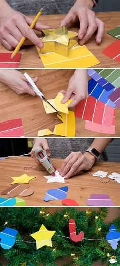 Use Your Old Cookie Cutters To Cut Out A Gorgeous Paint-Chip Christmas Garland