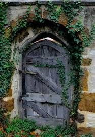 It's not home entrance #door, but it's one into garden made from years of weather ... #distressed #natural wood with the greenery & stone walls looks so enchanting!