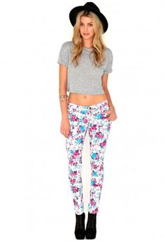Missguided - Bernadetta Floral Print Jeans In White