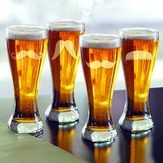 #Mustache Pilsner Glasses! (set of 4) @themanregistry