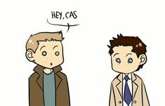 Cute little personal space gif. Supernatural Dean and Cas