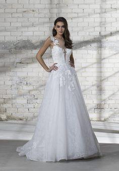 34768d9d6fc Illusion Top Lace Detailed A-line Wedding Dress