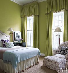 Valance on drapes - Chartreuse and chic bedroom by Jeffrey Bilhuber