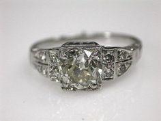 Art Deco Engagement Ring. White gold, european cut