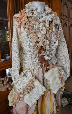 Romantic Bohemian crocheted cardiganshabby by irinacarmen on Etsy