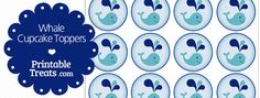 Here are some cute free printable whale cupcake toppers for underwater parties and every day cupcake decorating. These cute printable whale cupcake toppers feature a cute little teal whale Baby Shower Themes, Baby Boy Shower, Baby Shower Gifts, Shower Ideas, Baby Showers, Whale Birthday Parties, Boy Birthday, Birthday Ideas, Whale Cupcakes