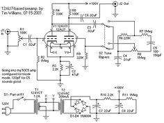 Tim's 12AU7 Tube Preamplifier Schematic