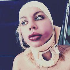 Messed lipstick makeup. My face is fine) #legcast #plastercast #llc #longlegcast #fetishmodel #fetishes #bdsm #mouth #bondage #castfetish #feet #foot #feetporn #fracture #brokenbones #fetish #medicalfetish #gag #ballgag #ducttapebondage #slc #clc #lac #sac #brace #neckbrace #armcast #toes #toeplate #crutches