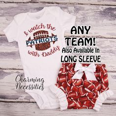 188cb38f7 I Watch Football With Daddy Glitter Bodysuit and Football Diaper Cover Set,  Football Sister Shirt