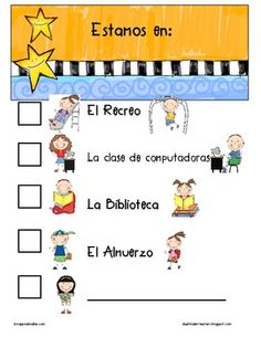 Spanish classroom door sign to let others know where your class is located.  Kid friendly pictures....