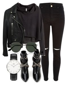 """""""Untitled #5433"""" by laurenmboot ❤ liked on Polyvore featuring River Island, H&M, Acne Studios, Ray-Ban, Yves Saint Laurent and Daniel Wellington"""