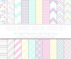 "Just Peachy Designs: Free ""Hello Spring"" Digital Paper Set"