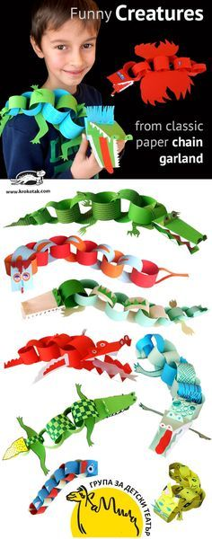 DIY Funny Creatures from classic paper chain garland - fun kids craft! Construction Paper, Animal Crafts, Funny Crafts For Kids, Kids Crafts, Summer Crafts, Projects For Kids, Preschool Crafts, Diy For Kids, Children Activities