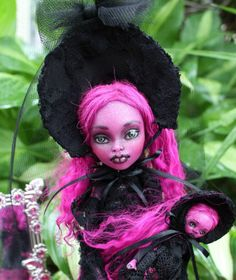 OOAK art doll Monster High custom repaint Bloody Mary by A. Gibbons horror