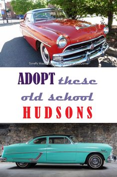 [FOR SALE] Red 1954 Hudson Hornet Hollywood available for $24,500. Blue 1954 Hudson Club Coupe Hornet available for $44,500. Call us at 303-296-1688 if interested. #Hudson #HudsonHornetHollywood #Hollywood #HudsonClub #HudsonHornet #HudsonClubCoupeHornet #classiccars #classiccarsforsale