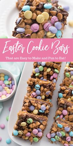 Easy m m easter cookie bars are the perfect dessert for easter colorful bright and delicious down to the last crumbs make these cookie bars today cookiebar easter dessert easy potluck layeredbars magicbars easter trifle dessert Easy Easter Desserts, Easter Recipes, Easter Cookies, Easter Treats, Holiday Cookies, Chocolate Chip Cookies, Chocolate Chips, Oatmeal Cookies, Chocolate Ganache