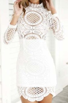 Sexy Turtle Neck Long Sleeve Hollow Out Asymmetrical Women's Dress Club Dresses | RoseGal.com Mobile