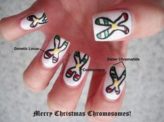 DIY Merry Christmas Chromosome Nail Art Tutorial from Cosmetic Proof here.More science nail art here.For more cool nail art -including more Molecular nail art - go to Cosmetic Proof's site andTumblr site.