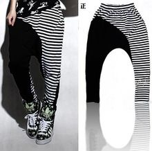 New fashion Harem Hip Hop Dance Sweatpants Costumes female stage performance wear trousers jazz Stripe Spliced Panelled Pants(China)