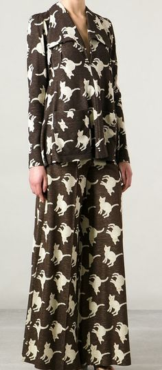 Biba cat print suit from Decades on Farfetch.com