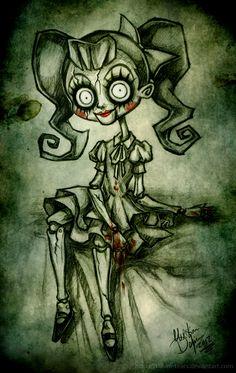 Dollie by Lithium-Tears Gothic Drawings, Creepy Drawings, Dark Art Drawings, Creepy Art, Art Drawings Sketches, Emo Art, Goth Art, Arte Horror, Horror Art