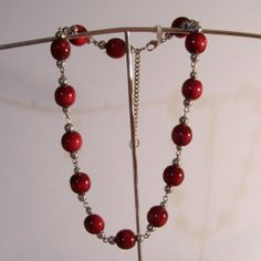 Wood Cherry Bead Necklace by DianasPaintedDezigns on Etsy