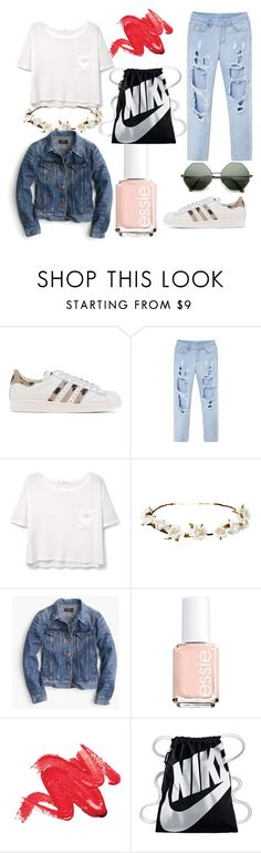 """""""SPRING LOOK"""" by polinka-like ❤ liked on Polyvore featuring adidas Originals, MANGO, Cult Gaia, J.Crew, Essie and NIKE"""